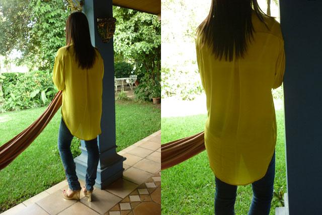 Ahora está de moda que las blusas sean largas de atrás.