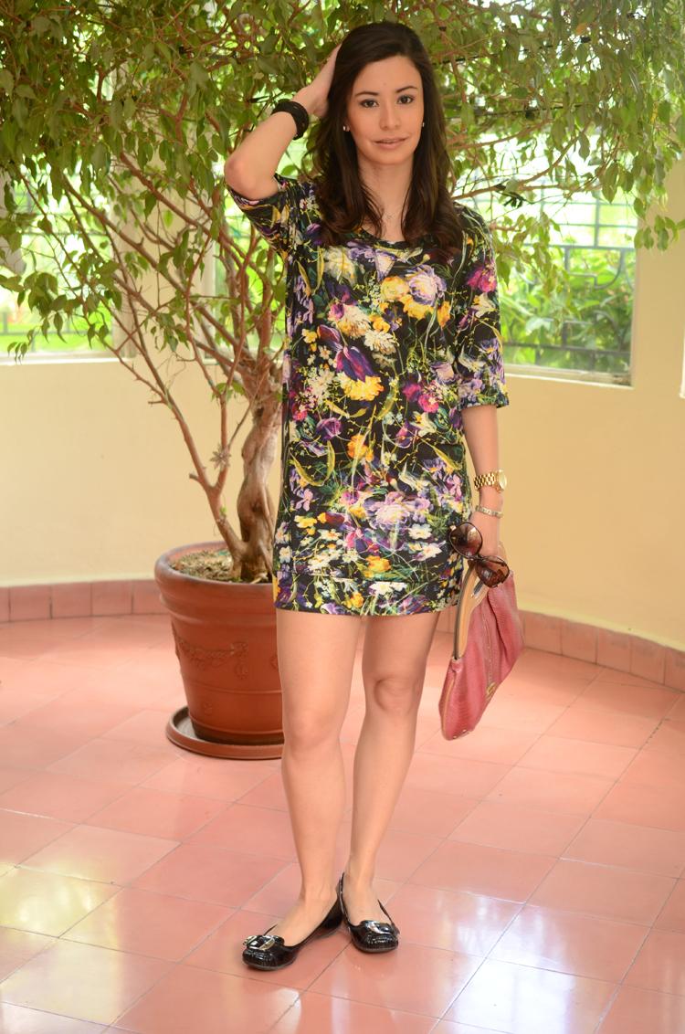 Fashion - Black Floral Print Dress by Soniux Valdés