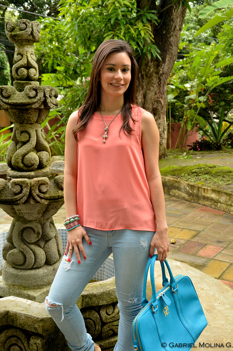 Fashion - Salmon Blouse by Sonia Valdés