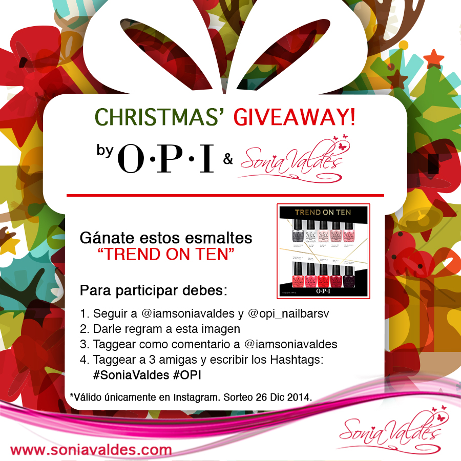 OPI Christmas Giveaway Trend On Ten by Sonia Valdés