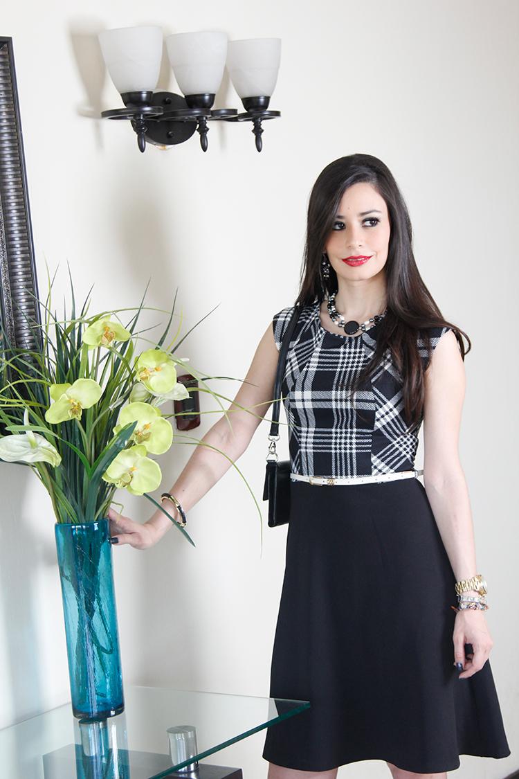 Fashion - Black & White Plaid Dress by Sonia Valdés
