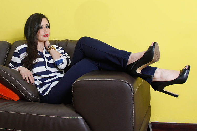 Fashion - Yellow, Navy & A Brown Couch by Sonia Valdés