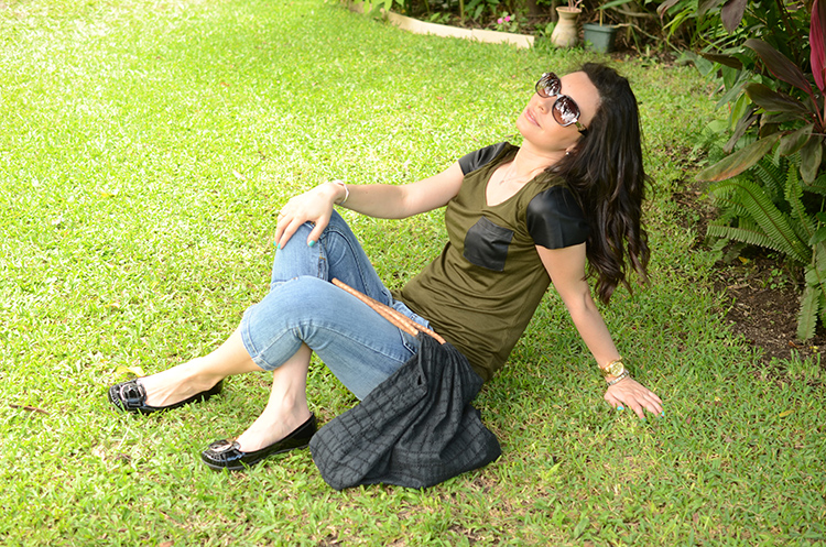 Fashion - Olive & Black Faux Leather Shirt by Sonia Valdés