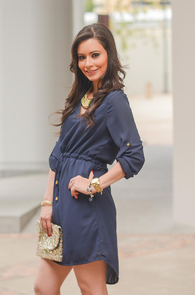 Fashion - Navy Blue Tunic Dress by Sonia Valdés